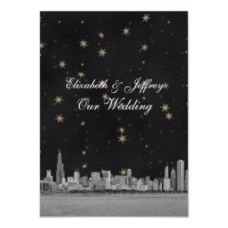Chicago Skyline Black Gold Star V Wedding Card
