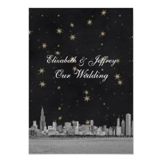 Chicago Skyline Black Gold Star V Wedding Invitation