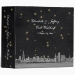 Chicago Skyline Black Gold Star Wedding Binder