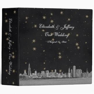 Chicago Skyline Black Gold Star Wedding Binder