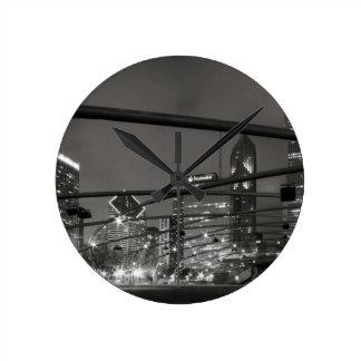 Chicago Skyline Black & White Round Wall Clock