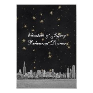 Chicago Skyline Blk Gold Star V Rehearsal Card