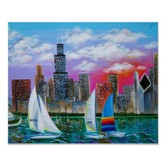Chicago Skyline by Lake Michigan Poster