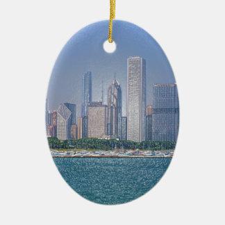 Chicago Skyline Ceramic Ornament