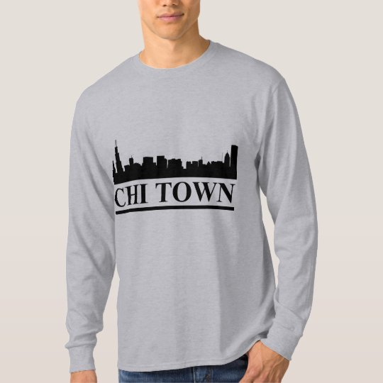 Chicago Skyline Chi Town Mens LS T-shirt