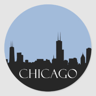 Chicago Skyline Classic Round Sticker