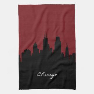 Chicago Skyline   Dark Red Kitchen Towel