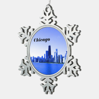Chicago Skyline Deep Bluish Highlights Snowflake Pewter Christmas Ornament
