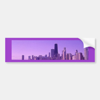 Chicago Skyline Deep Purplish Hues Bumper Sticker