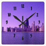 Chicago Skyline Deep Purplish Hues Square Wall Clocks