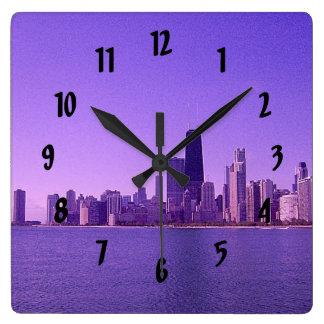 Chicago Skyline Deep Purplish Hues Square Wall Clock