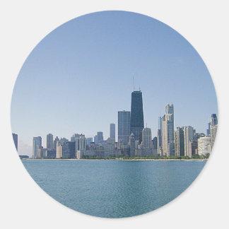 Chicago Skyline Deeper Blue Photo Round Stickers