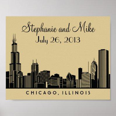 Chicago Skyline Design | Wedding Reception Print