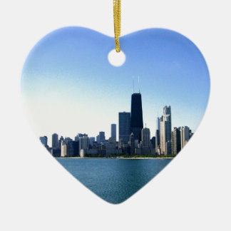 Chicago Skyline Double-Sided Heart Ceramic Christmas Ornament