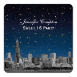 Chicago Skyline Etch Blue Starry SQ Sweet 16 5.25x5.25 Square Paper Invitation Card