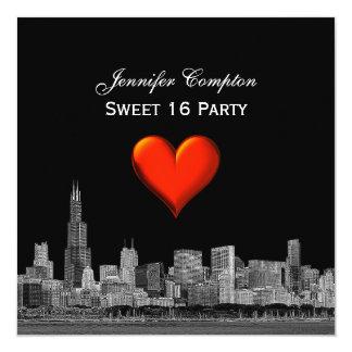 Chicago Skyline Etch DIY BG Red Heart SQ Sweet 16 Card