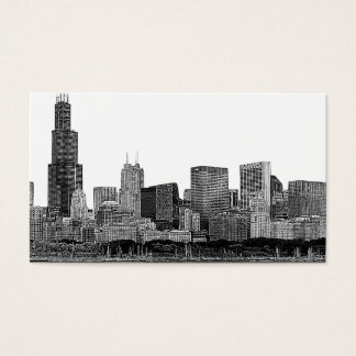 Chicago Skyline Etched Business Card