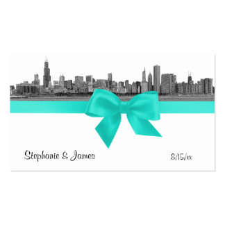 Chicago Skyline Etched BW Aqua Escort Cards Double-Sided Standard Business Cards (Pack Of 100)