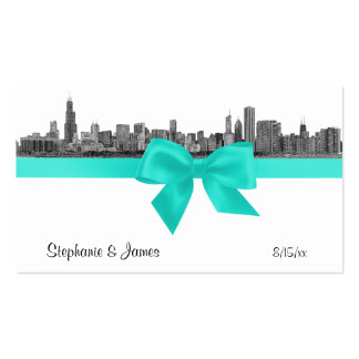 Chicago Skyline Etched BW Aqua Place Cards #2 Business Card