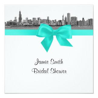 Chicago Skyline Etched BW Aqua SQ Bridal Shower S Card