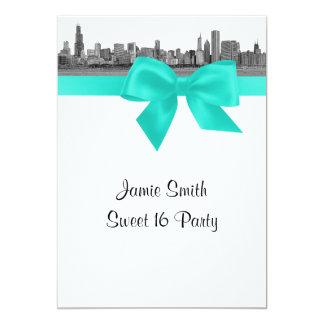 Chicago Skyline Etched BW Aqua Sweet Sixteen 5x7 Paper Invitation Card