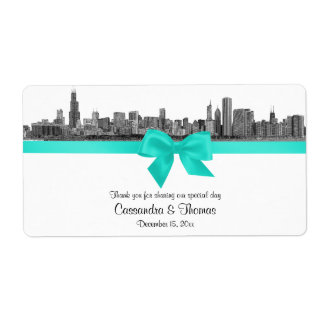 Chicago Skyline Etched BW Aqua Wine Label H
