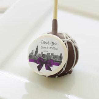 Chicago Skyline Etched BW Purple Cake Pops