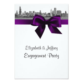 Chicago Skyline Etched BW Purple Engagement Party Card