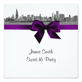 Chicago Skyline Etched BW Purple Sweet Sixteen SQ Card