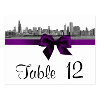 Chicago Skyline Etched BW Purple Table Number Postcard