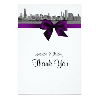 Chicago Skyline Etched BW Purple Thank You Card