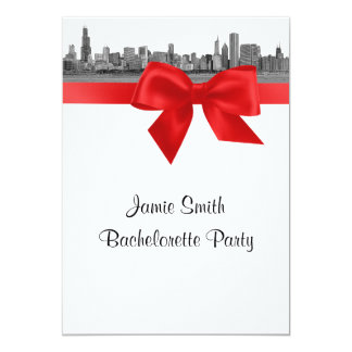 Chicago Skyline Etched BW Red Bachelorette Card
