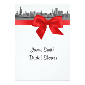 Chicago Skyline Etched BW Red Bridal Shower Card