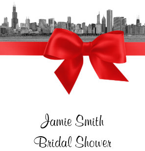 chicago skyline etched bw red bridal shower invitation
