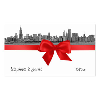 Chicago Skyline Etched BW Red Escort Cards Double-Sided Standard Business Cards (Pack Of 100)