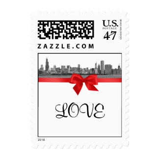 Chicago Skyline Etched BW Red LOVE small Postage