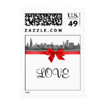 Chicago Skyline Etched BW Red LOVE small Stamps