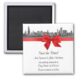 Chicago Skyline Etched BW Red Save the Date Magnet