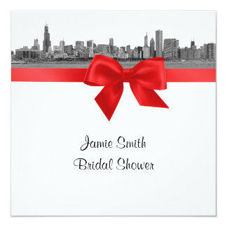 Chicago Skyline Etched BW Red SQ Bridal Shower Card