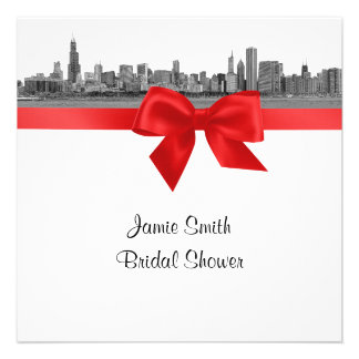Chicago Skyline Etched BW Red SQ Bridal Shower Personalized Invites