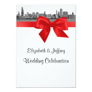 Chicago Skyline Etched BW Red Wedding Card