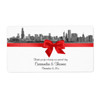 Chicago Skyline Etched BW Red Wine Label H