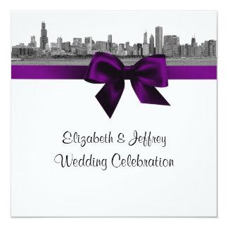 Chicago Skyline Etched BW SQ Purple Wedding Card