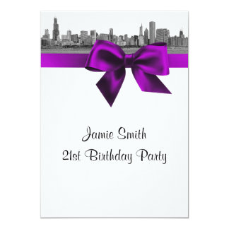 Chicago Skyline Etched BW Violet Birthday Party Card