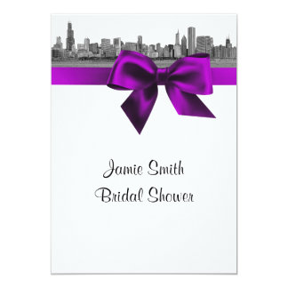 Chicago Skyline Etched BW Violet Bridal Shower S 5x7 Paper Invitation Card