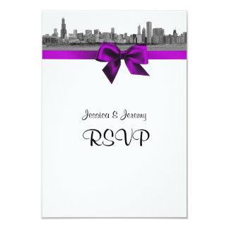 Chicago Skyline Etched BW Violet RSVP Menu Card