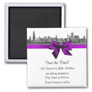 Chicago Skyline Etched BW Violet Save the Date Magnet