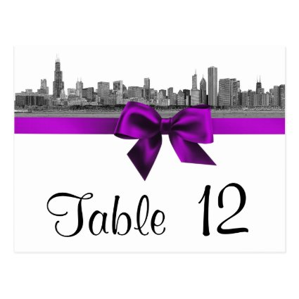Chicago Skyline Etched BW Violet Table Number Post Cards