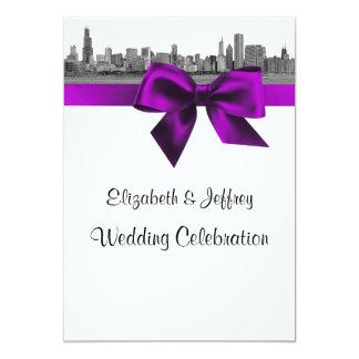 Chicago Skyline Etched BW Violet Wedding Card