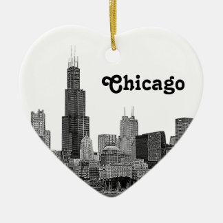 Chicago Skyline Etched Ceramic Ornament